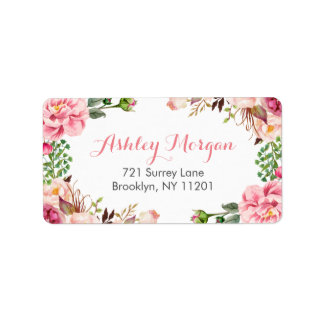Beautiful Romantic Chic Floral Flowers Label