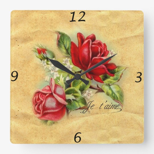 Beautiful romantic elegant vintage red roses square wall
