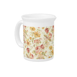 Beautiful romantic floral pattern pitcher