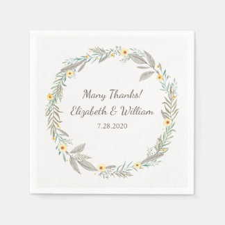 Beautiful Romantic Floral Wreath Garden Wedding Paper Serviettes