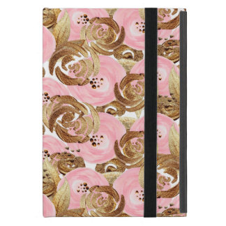 Beautiful romantic pink and gold Flowers Pattern iPad Mini Covers