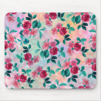 Beautiful romantic watercolor roses floral pattern mouse mat