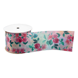 Beautiful romantic watercolor roses floral pattern satin ribbon