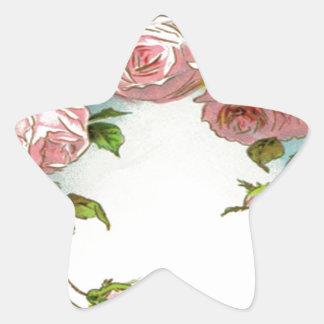 Beautiful Rose Design Star Sticker