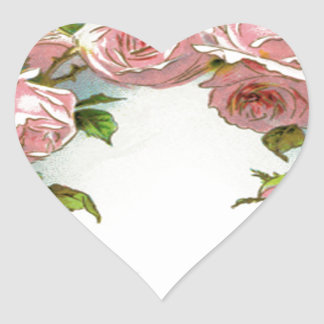 Beautiful Rose Design Heart Stickers