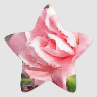 Beautiful Rose Floral Abstract Star Sticker