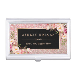 Beautiful Rose Gold Glitter Girly Floral Decor Business Card Cases