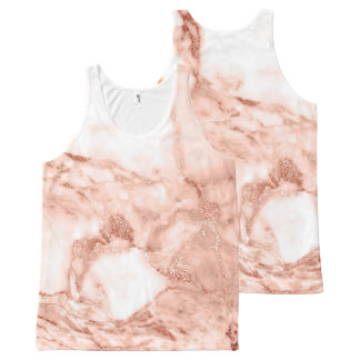 Beautiful Rose Gold Sparkle Faux Marble Pattern All-Over Print Tank Top
