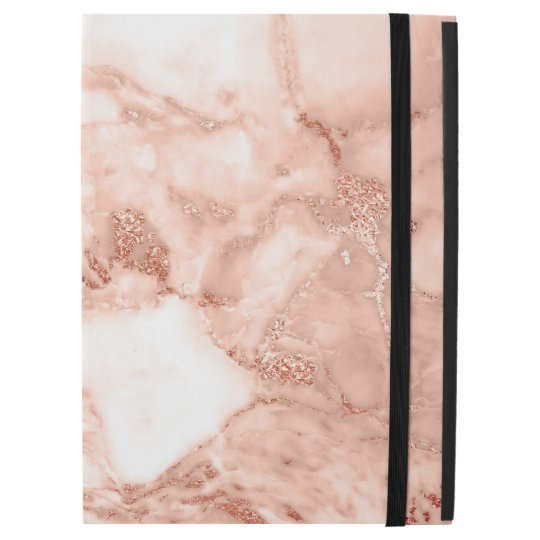 Beautiful Rose Gold Sparkle Faux Marble Pattern iPad