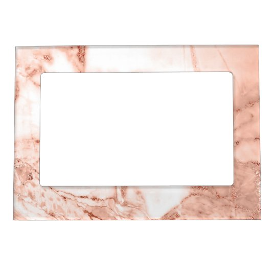 Beautiful Rose Gold Sparkle Faux Marble Pattern Magnetic