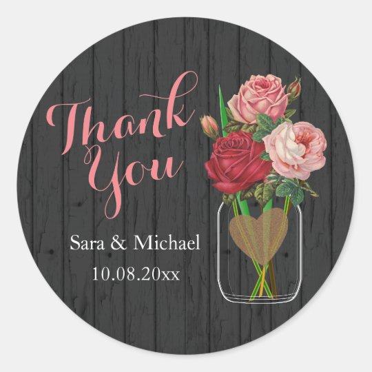 Beautiful Rose Mason Jar - Thank You Classic
