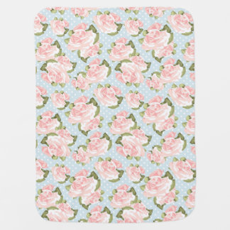 Beautiful rose pattern with blue polka dots baby blanket