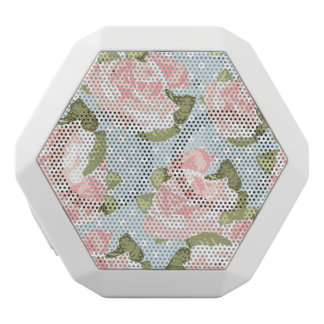 Beautiful rose pattern with blue polka dots white boombot rex bluetooth speaker