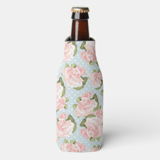 Beautiful rose pattern with blue polka dots bottle cooler