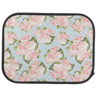 Beautiful rose pattern with blue polka dots car mat