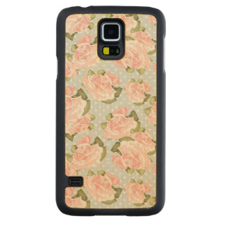 Beautiful rose pattern with blue polka dots carved maple galaxy s5 case