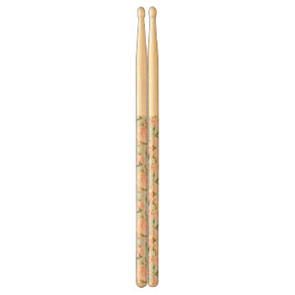 Beautiful rose pattern with blue polka dots drumsticks