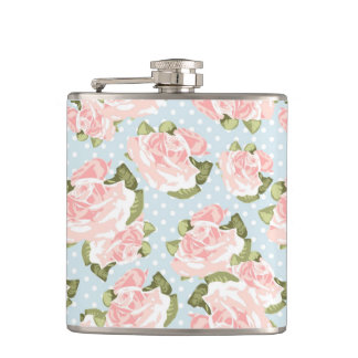 Beautiful rose pattern with blue polka dots hip flask