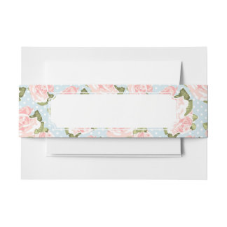 Beautiful rose pattern with blue polka dots invitation belly band