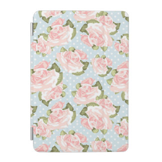 Beautiful rose pattern with blue polka dots iPad mini cover