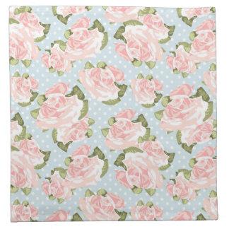Beautiful rose pattern with blue polka dots napkin