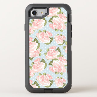 Beautiful rose pattern with blue polka dots OtterBox defender iPhone 8/7 case
