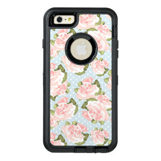 Beautiful rose pattern with blue polka dots OtterBox defender iPhone case