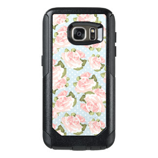 Beautiful rose pattern with blue polka dots OtterBox samsung galaxy s7 case