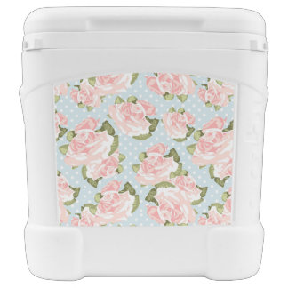 Beautiful rose pattern with blue polka dots rolling cooler