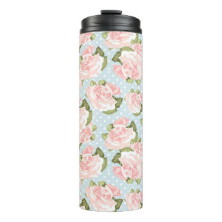 Beautiful rose pattern with blue polka dots thermal tumbler