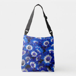 Beautiful Royal Blue Cineraria Flowers Crossbody Bag