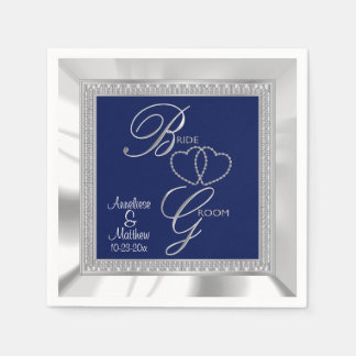 Beautiful Royal Blue, Silver & White Satin Wedding Paper Napkin