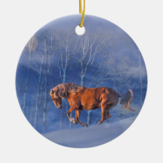 Beautiful Running Horse in the Snow Xmas Ornament