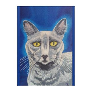 Beautiful Russian Blue cat watercolor portrait Acrylic Wall Art