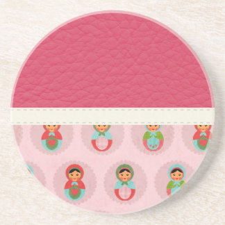 Beautiful Russian Nesting Dolls on Leather Coaster