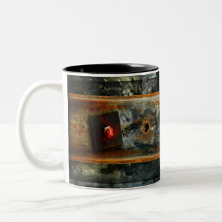 Beautiful rusted metal from construction site Two-Tone coffee mug