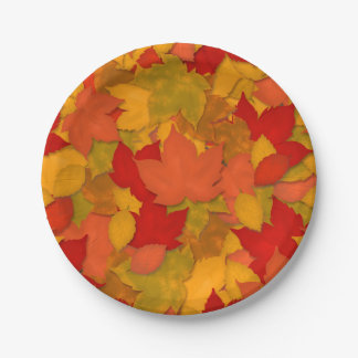 Beautiful Rustic Fall or Autumn Leaves Paper Plate