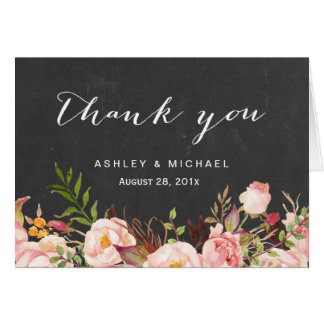 Beautiful Rustic Floral Chalkboard Thank You Card