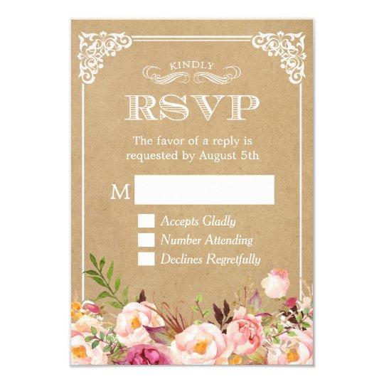 Beautiful Rustic Floral Kraft Elegant Wedding RSVP Card