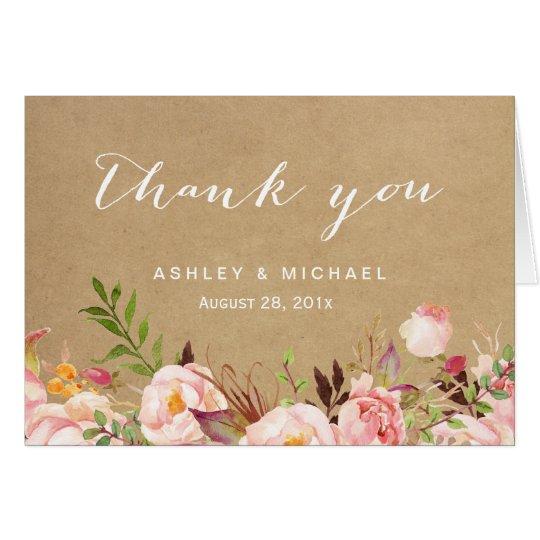 Beautiful Rustic Floral Kraft Thank You Card