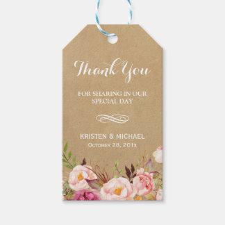 Beautiful Rustic Flowers Kraft   Wedding Thank You
