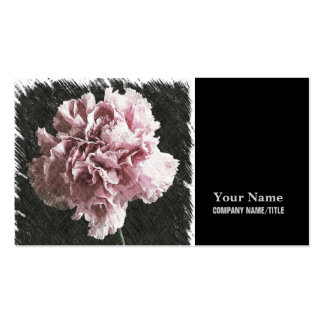 Beautiful rustic pink carnation on black backgroun pack of standard business cards
