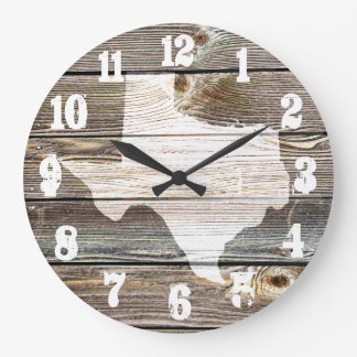 Beautiful Rustic Texas Map Authentic looking wood Large Clock