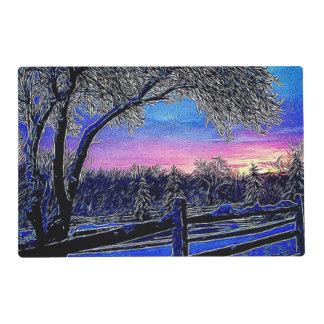 Beautiful rustic winter scene laminated place mat