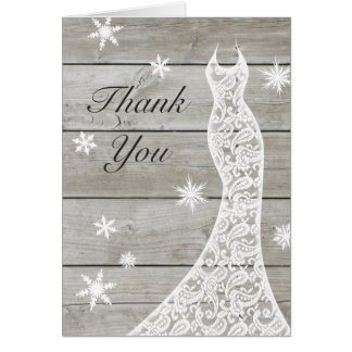 Beautiful Rustic Winter Thank You Card