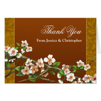 beautiful sakura blossoms painted victorian thanks note card