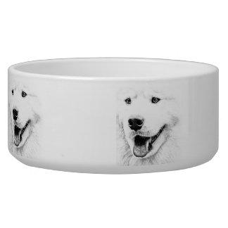 Beautiful Samoyed dog art Dog Bowl