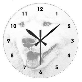Beautiful Samoyed dog art Wall Clock