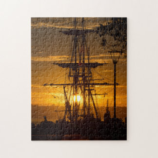 Beautiful San Diego Sunset with Tall-Mast Ship Jigsaw Puzzle