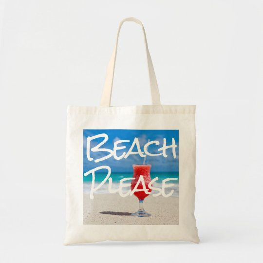 Beautiful Sandy Beach Please with Red Daiquiri Tote